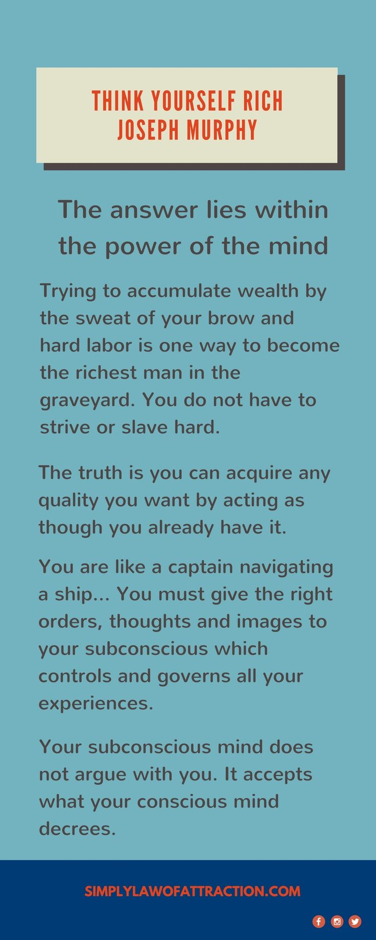 Think Yourself Rich By Joseph Murphy - law of attraction