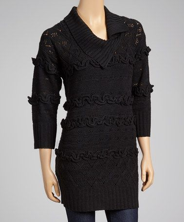 This Black Pointelle-Back Sweater Tunic - Women by delfine is perfect! #zulilyfinds