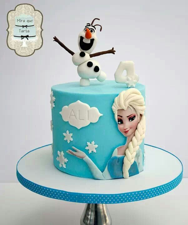 Frozen theme cake. Sugar image enhanced with fondant hair