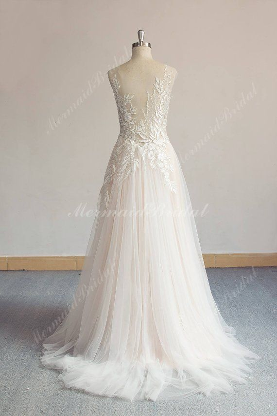 52cdab959816 Unique Aline Tulle Lace Wedding Dress, Elegant Vintage Boho Wedding ...