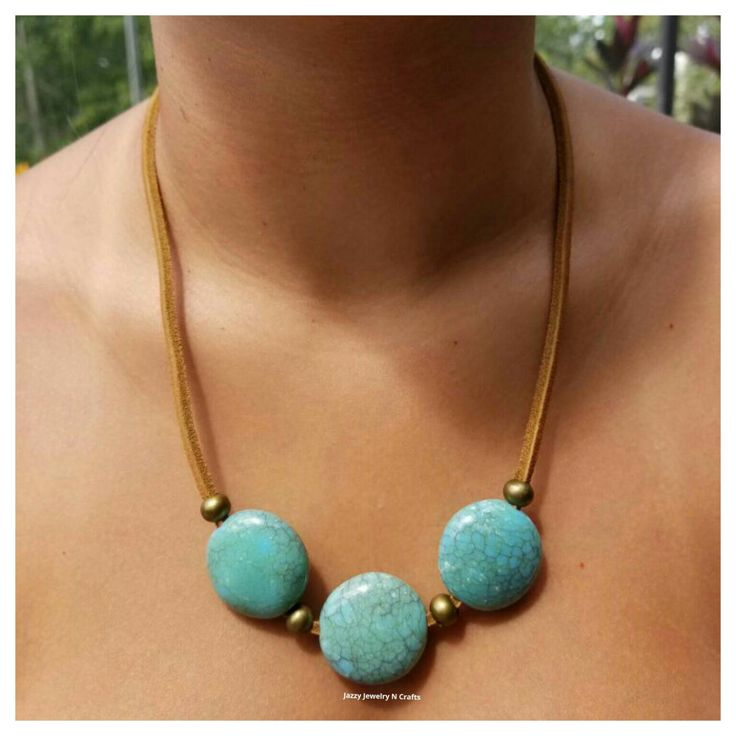 Leather Necklace,Turquoise Acrylic Beads, Bohemian Necklace,Bohochic,Boho…
