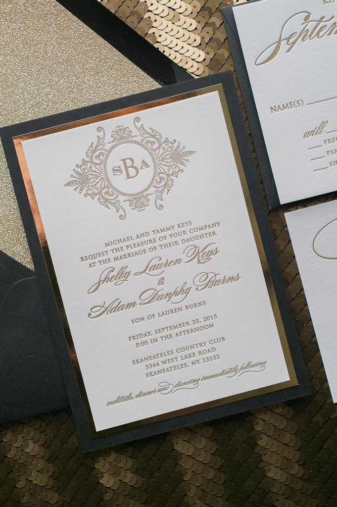 Fabulous Sparkly and Fancy Black and Gold Glitter Luxury Monogram Letterpress Wedding Invitations by Just Invite Me