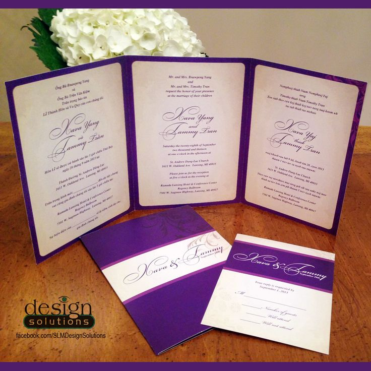 Trilingual TriFold Wedding Invitations. Custom designs and more affordable then DYI websites. Like us on - FB/SLMDesignSolutions