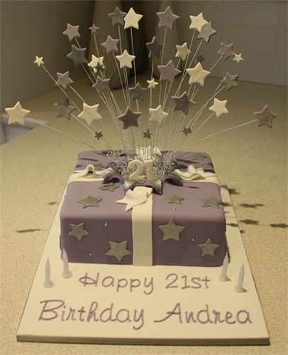 Amanda's Cakes and Invitations - Birthday Cakes- purple exploding present cake