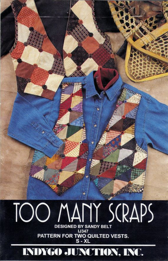 Pattern for Two Pieced and Quilted Vests by Sandy Belt for Indygo Junction