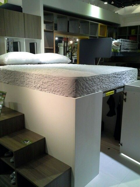 Elevated bed with storage and lighting                                                                                                                                                                                 More