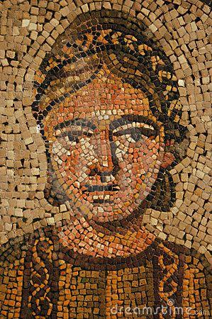 Romeins mozaiek. Foto Photoshoppen - filter stained glasses Naleggen in gekleurd mozaiek (papier)