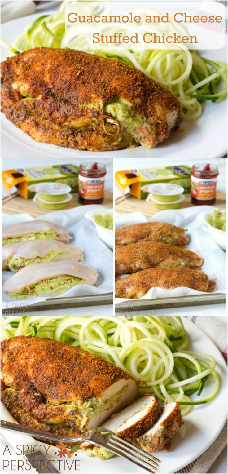 Guacamole and Cheese Stuffed | @spicyperspectiv #chicken #dinner