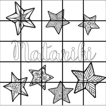 FREE Matariki colouring sheet, a whole class activity. Each child colours a square.