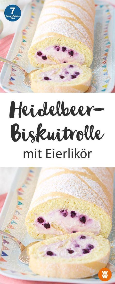Heidelbeer-Biskuitrolle mit Eierlikör, Gebäck, Kuchen, Biskuit | Weight Watchers