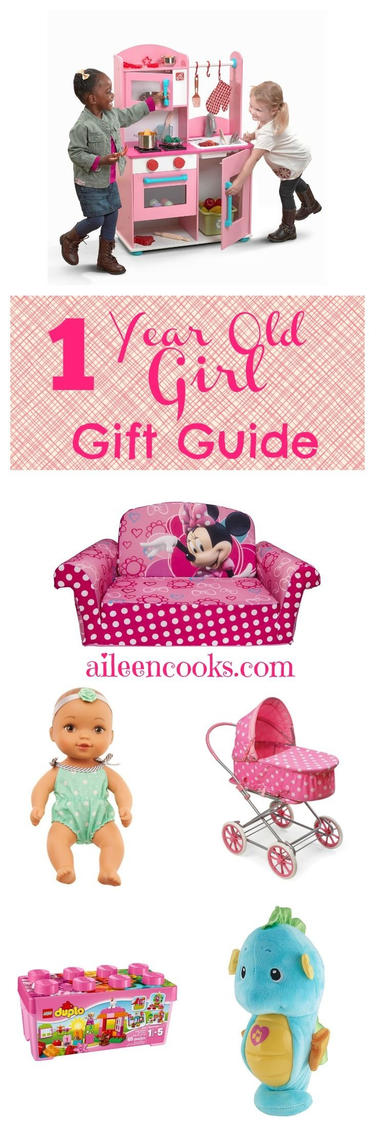 This one year old girl gift guide is a collection of quality, tried and true toys from a mom of 3. These toys are perfect for your older baby and toddler girls.  All of these toys are available on Amazon, too! via @aileencooks [sponsored]