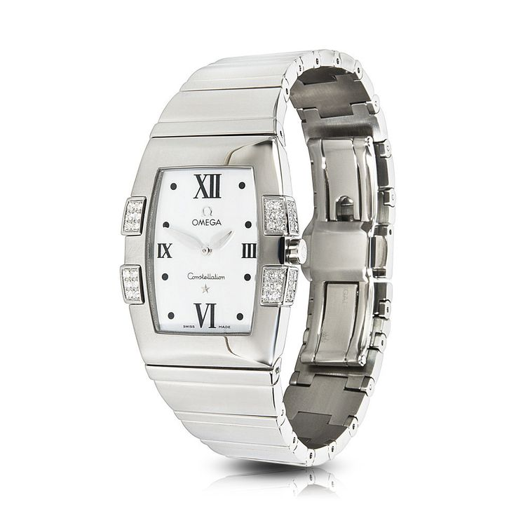 Refurbished Pre-owned Omega Constellation Quadrella 1586.70 Quartz Watch in Steel/Diamond/MOP Women's