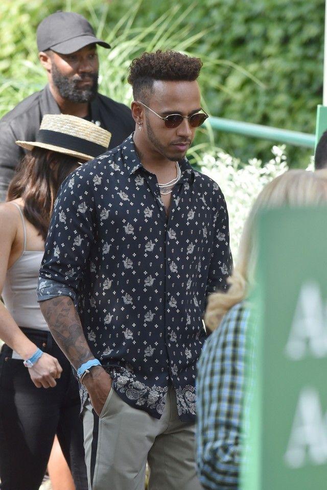 2603248d7ba9 Lewis Hamilton wearing The Kooples Black And White Print Bandana Shirt
