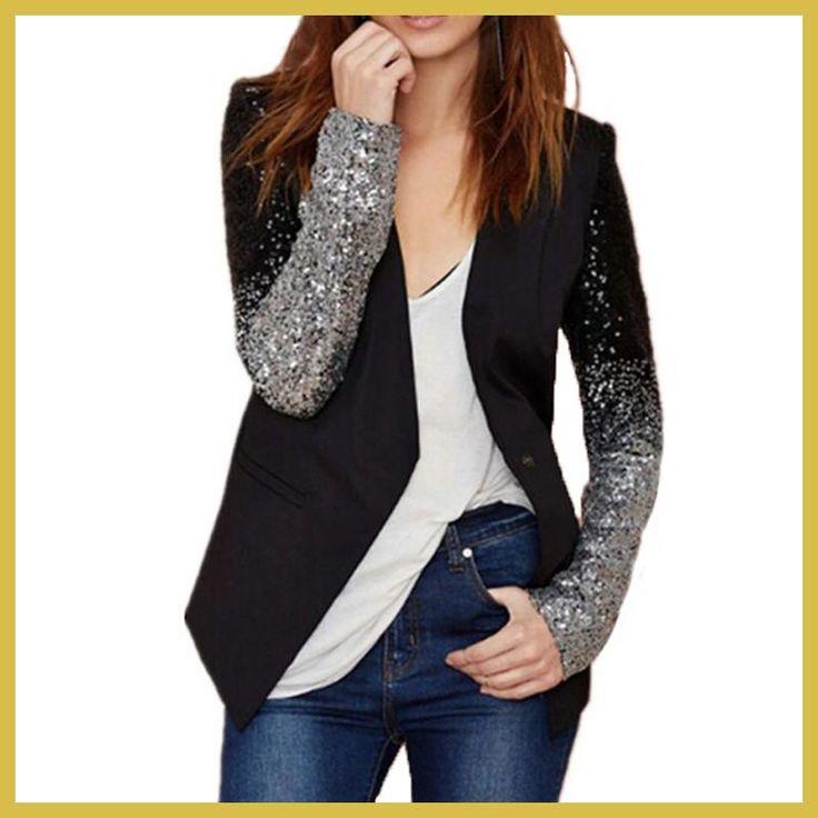 2017 Autumn Women Jacket Coat Work Blazers Suit Long Sleeve Lapel Silver Black Sequins Elegant Ladies Blazer feminino