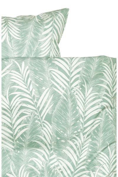 Parure de couette à motif: Parure de couette lit simple en fil de coton fin à motif imprimé de feuilles de palmier. Housse fermée par boutons-pression métalliques dissimulés à la base. Une taie d'oreiller. Fil 30. Densité 57 fils/cm².