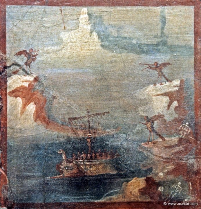 Ulysses Resists the Sirens - Fresco from Pompeii ...