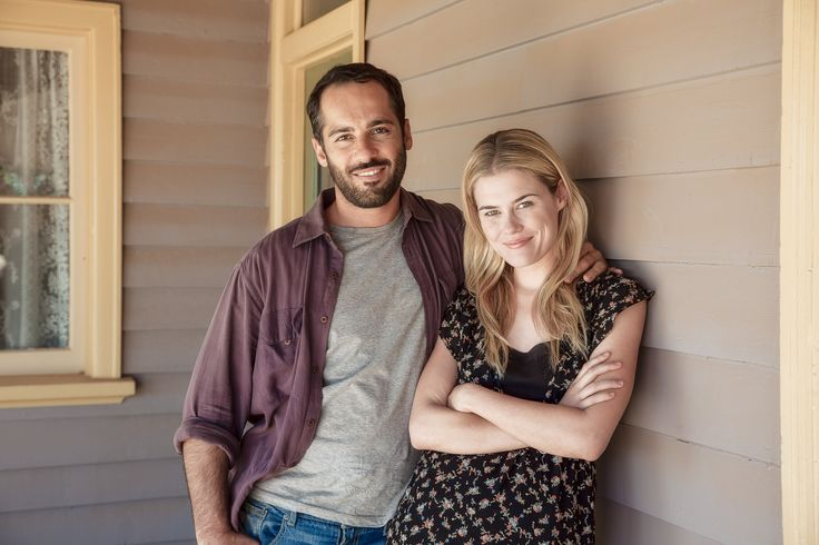 Rachel Taylor and Alex Dimitriades photographed under the veranda near the back door of an historic house on the outskirts of Mildura during the filming of Summer Coda.