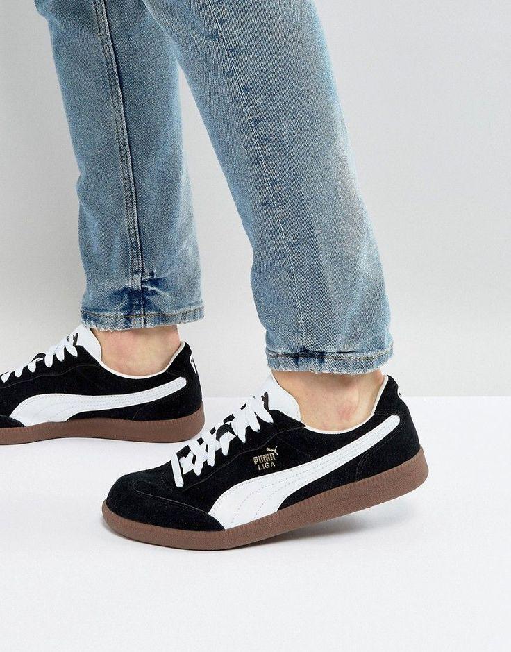 PUMA LIGA SUEDE SNEAKERS - BLACK. #puma #shoes #