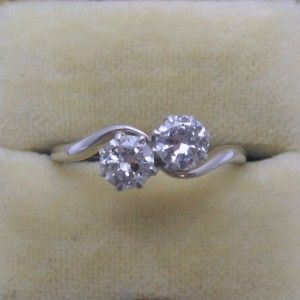 Two Stone Diamond cross over engagement ring