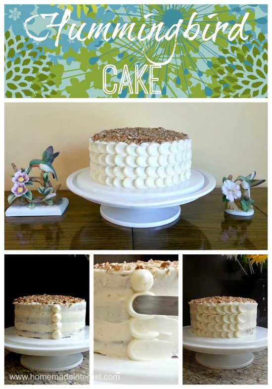 Hummingbird cake is fruity and sweet and absolutely delicious! It's perfect as an Easter dessert….or really as a dessert recipe for any time of year. I've included a tutorial on a simple way to frost it using the petal frosting method. {www.homemadeinterest.com}