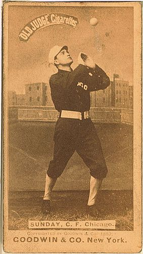 Billy Sunday, Chicago White Stockings, baseball card portrait, 1888