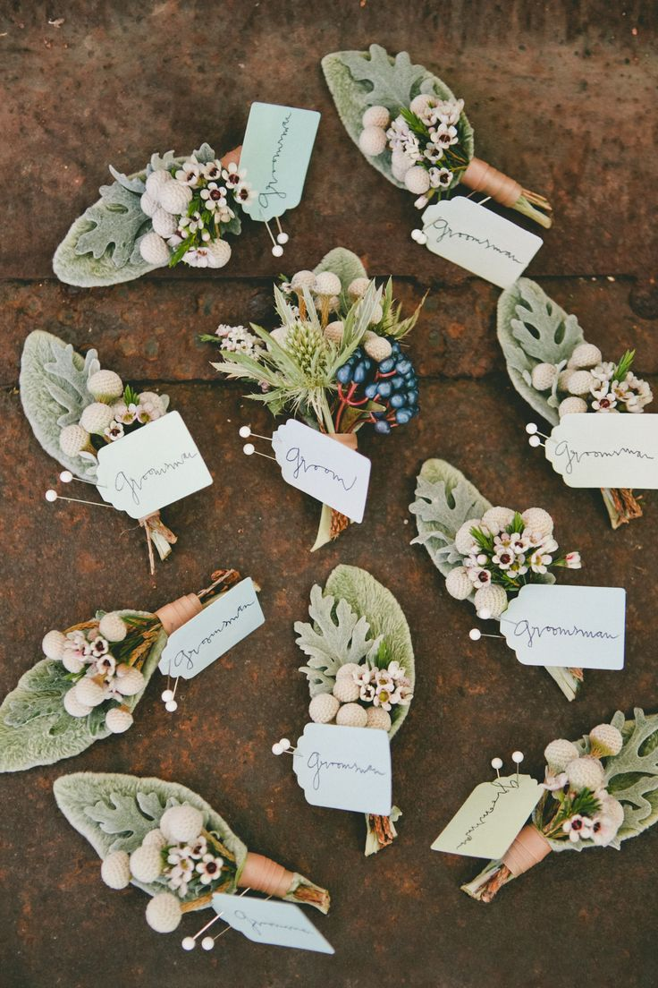 Silver Brunia and Dusty Miller Boutonnieres