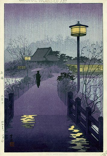 Idea for colour palette and lighting practicals. Possibly the road or path out of forest? Hasui Moonlit Woodblock Prints 1939-1970s