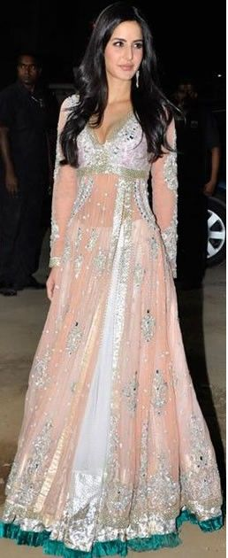 Katrina Kaif..love the teal border at the bottom and that nude slip underneath elevates this oh so much.