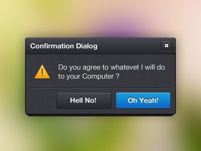Dark Confirmation Dialog. Via: http://drbl.in/dTGP #ui #form #dialog #confirmation #prompt #message