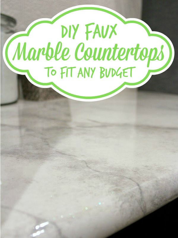 DIY faux marble countertops -- looks like the real thing at a fraction of the price! @Remodelaholic .com .com .com