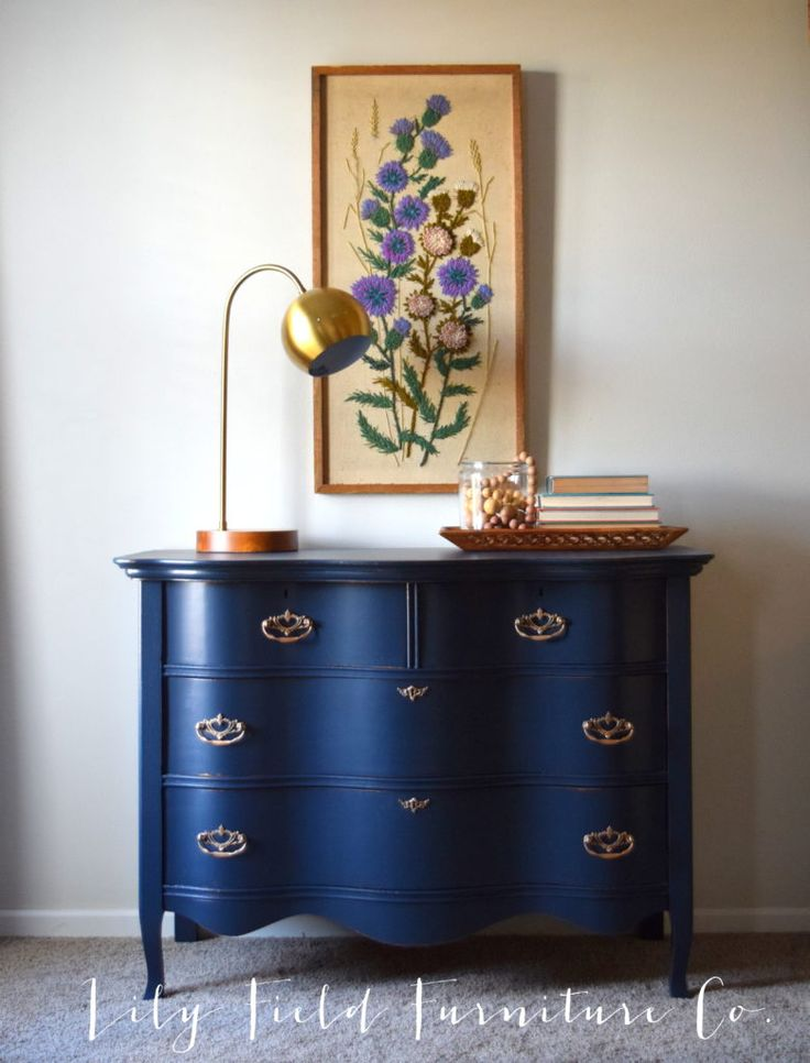 Navy Dresser Makeover- an easy to follow tutorial for the perfect makeover!