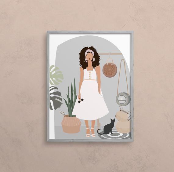 Woman Illustration Print Black Woman Art Fashion Etsy Feminine Wall Art Woman Illustration African Women Art