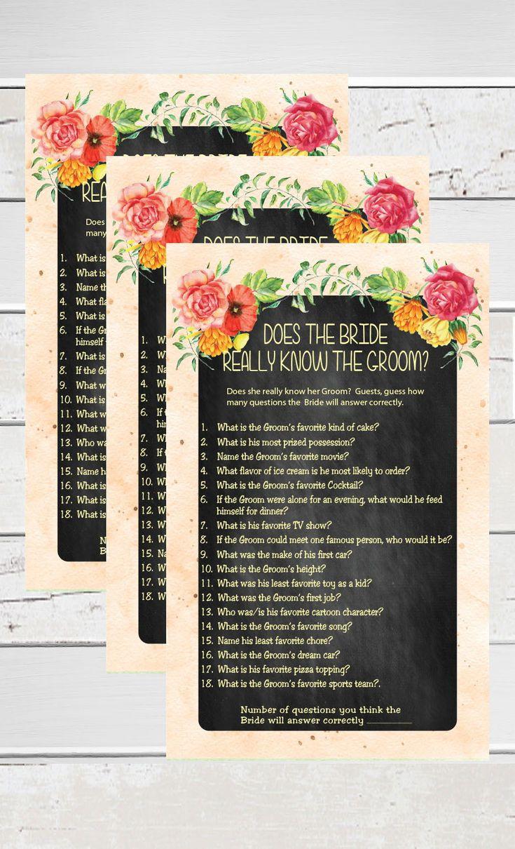 Bride know Groom Bridal Shower Game Chalkboard