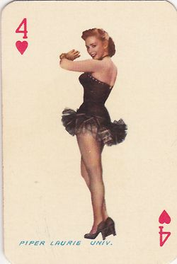 Movie star playing cards featuring Piper Laurie, Martha Hyer, June Haver, and Esther Williams.