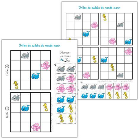 Fichiers PDF téléchargeables Versions en couleurs et en noir et blanc incluses  L'élève ne doit pas répéter la même image dans un même ensemble de carrés, ni dans une même rangée (exceptées les diagonales). Les illustrations à découper permettent de compléter une seule grille à la fois.