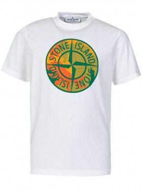 Stone Island Junior White Camo Compass T-Shirt