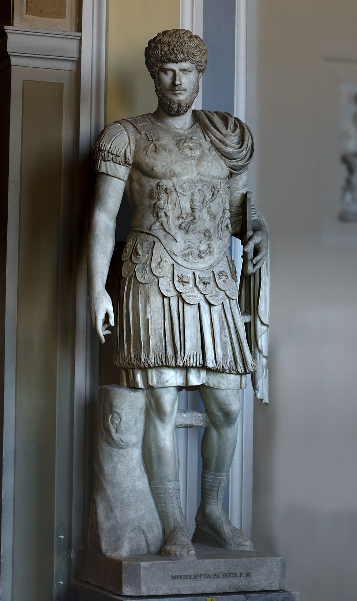 Statue in armor with portrait of Lucius Verus. Marble. 2nd cent. CE. Inv. No. 541. Rome, Vatican Museums, Pius-Clementine Museum, Gallery of statues, 1. (Photo by I. Sh.).
