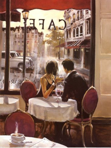 After Hours by Brent Heighton; artist; art; painting; paintings; couples; lovers; cafe; coffee; dining; city; cities