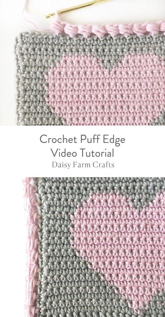 Crochet Puff Edge Video Tutorial Häkeln Häkeln Stricken Und