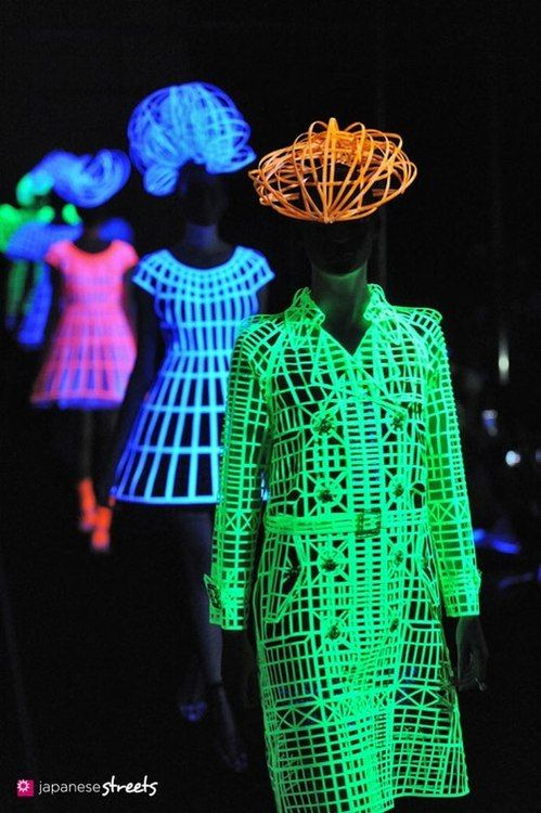 Japanese fashion brand Anrealage S/S 2013 experiment with black lights and neon
