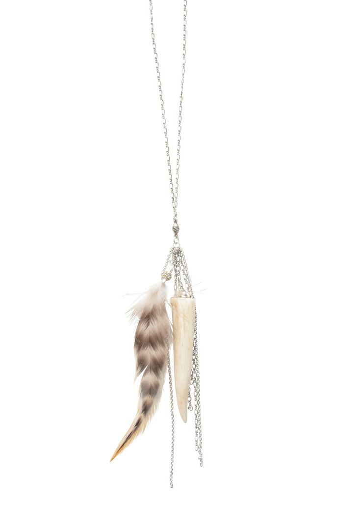 STYLE: - This is a gorgeous piece as it blends in the beauty of antiqued silver , fringe chain, a recycled elk antler tip, and rooster feather. - Layer with one of our Ethiopian necklaces or your favo
