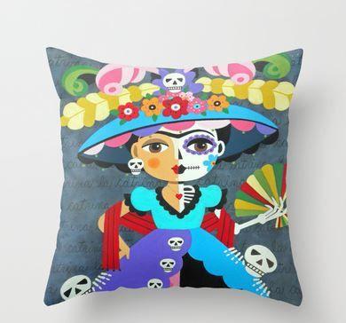 30% off Black Friday Cyber Monday Week SALE Frida Kahlo Pillow at MyPinkTurtleShop
