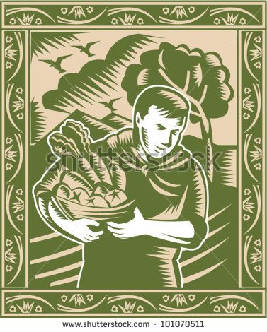 Illustration of an organic farmer with basket full of fruits and vegetables done in retro woodcut style. - stock vector #farmer #woodcut #illustration