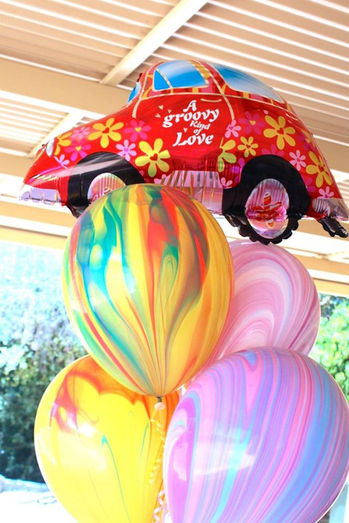 Balloons from a 60's VW Love Bug Themed Birthday Party via Kara's Party Ideas KarasPartyIdeas.com (17)