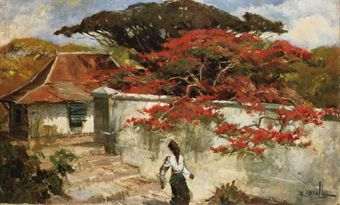 A man under a flamboyant tree  by Raden Basuki Abdullah.
