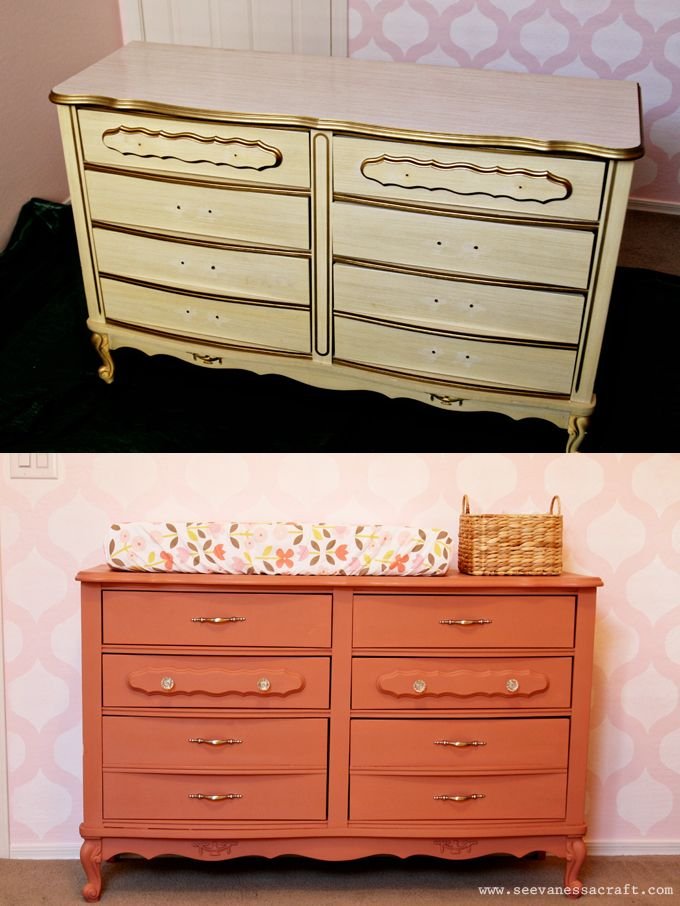 Annie Sloan Chalk Paint Dresser Makeover web - coral color for mirror & lamp LL's room #girlideas