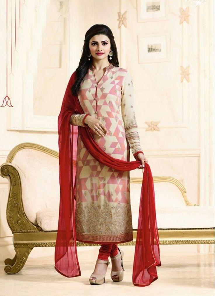 Prachi Desai Cream and Maroon Faux Georgette Decent Indian Salwar Kameez
