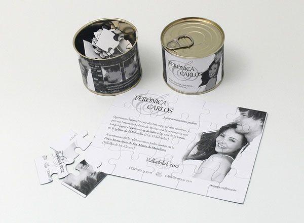 Invitación de boda diferente diseño puzzle en lata