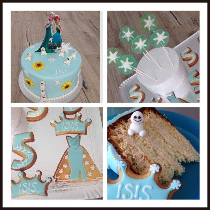 """Gâteau sur le thème """"La reine des neiges"""" version été  Sucette à la framboise coordonnées  Sablés cordonnés"""