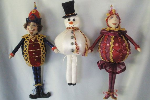 "E- PATTERN to make JOYFUL JOLLIES- 3 Christmas ornaments- Height 10""- 13½"" (26- 34 cm)  They make gorgeous ornaments, make great gift for teachers,"